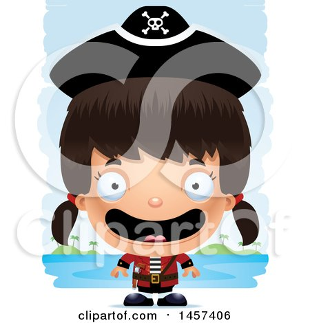 Clipart of a 3d Happy Hispanic Girl Pirate over Strokes - Royalty Free Vector Illustration by Cory Thoman