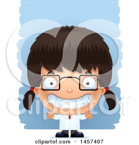 Clipart of a 3d Grinning Hispanic Girl Scientist over Strokes - Royalty Free Vector Illustration by Cory Thoman