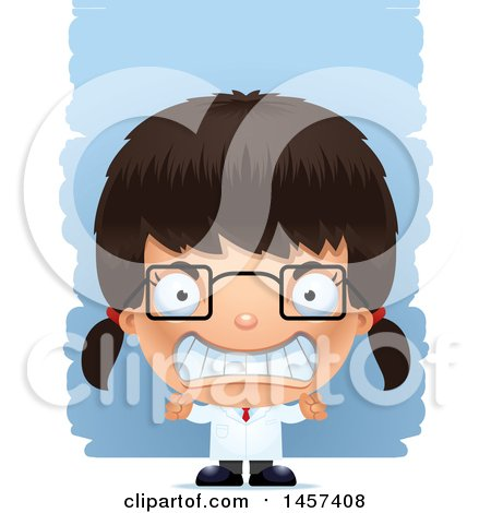 Clipart of a 3d Mad Hispanic Girl Scientist over Strokes - Royalty Free Vector Illustration by Cory Thoman