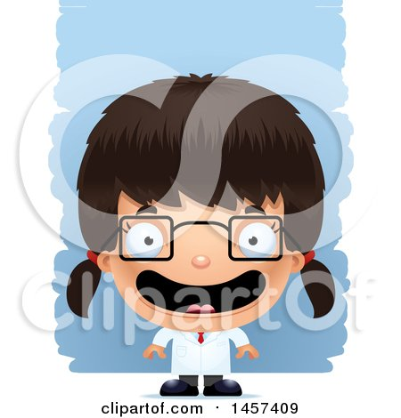 Clipart of a 3d Happy Hispanic Girl Scientist over Strokes - Royalty Free Vector Illustration by Cory Thoman
