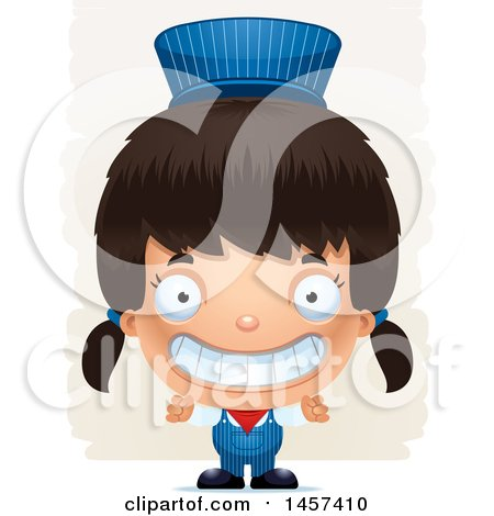 Clipart of a 3d Grinning Hispanic Girl Train Engineer over Strokes - Royalty Free Vector Illustration by Cory Thoman