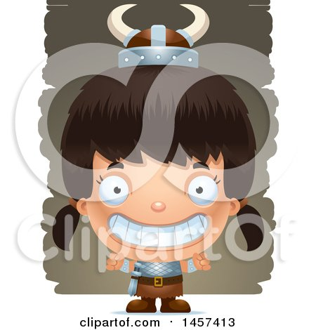 Clipart of a 3d Grinning Hispanic Girl Viking over Strokes - Royalty Free Vector Illustration by Cory Thoman