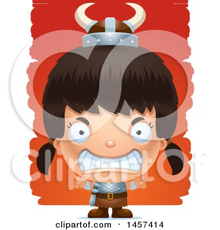 Clipart of a 3d Mad Hispanic Girl Viking over Strokes - Royalty Free Vector Illustration by Cory Thoman