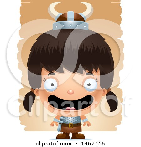 Clipart of a 3d Happy Hispanic Girl Viking over Strokes - Royalty Free Vector Illustration by Cory Thoman