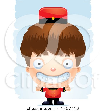 Clipart of a 3d Grinning White Boy over Strokes - Royalty Free Vector Illustration by Cory Thoman