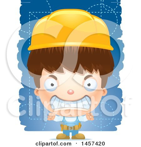 Clipart of a 3d Mad White Boy over Strokes - Royalty Free Vector Illustration by Cory Thoman