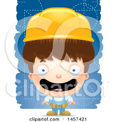 Clipart of a 3d Happy White Boy over Strokes - Royalty Free Vector Illustration by Cory Thoman