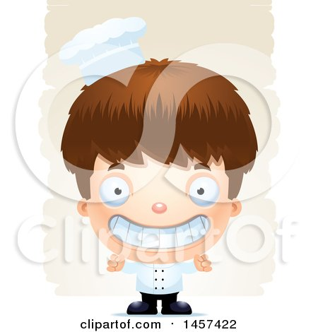 Clipart of a 3d Grinning White Boy Chef over Strokes - Royalty Free Vector Illustration by Cory Thoman