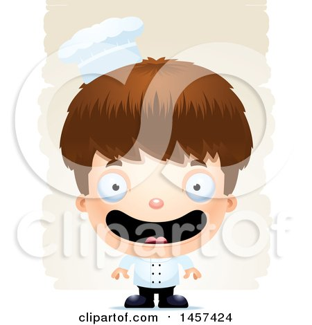 Clipart of a 3d Happy White Boy Chef over Strokes - Royalty Free Vector Illustration by Cory Thoman