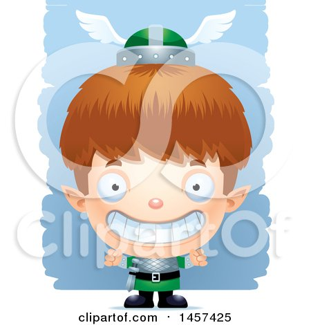 Clipart of a 3d Grinning White Boy Elf over Strokes - Royalty Free Vector Illustration by Cory Thoman