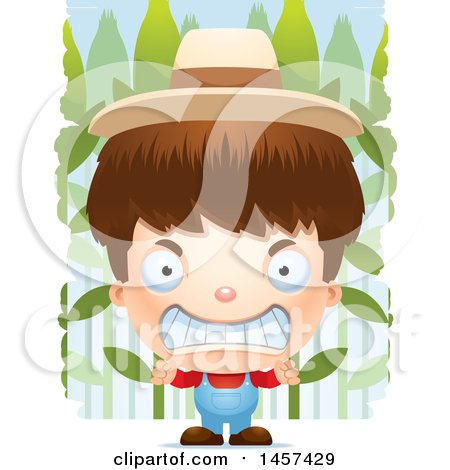 Clipart of a 3d Mad White Boy Farmer over a Crop - Royalty Free Vector Illustration by Cory Thoman