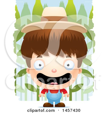 Clipart of a 3d Happy White Boy Farmer over a Crop - Royalty Free Vector Illustration by Cory Thoman