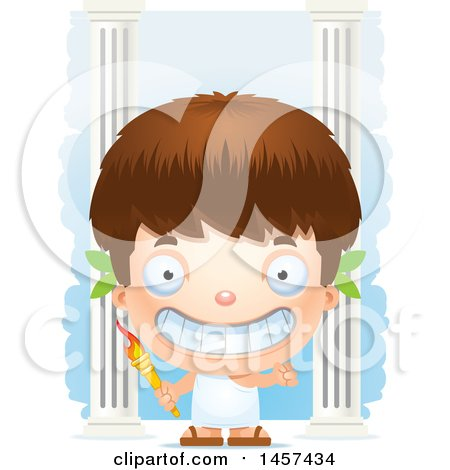 Clipart of a 3d Happy White Boy Holding a Torch over Columns - Royalty Free Vector Illustration by Cory Thoman