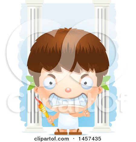 Clipart of a 3d Grinning White Boy Holding a Torch over Columns - Royalty Free Vector Illustration by Cory Thoman