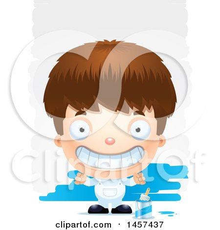 Clipart of a 3d Grinning White Boy Painter over Strokes - Royalty Free Vector Illustration by Cory Thoman