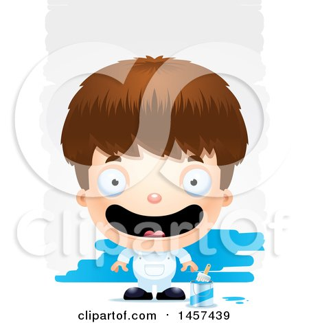 Clipart of a 3d Happy White Boy Painter over Strokes - Royalty Free Vector Illustration by Cory Thoman