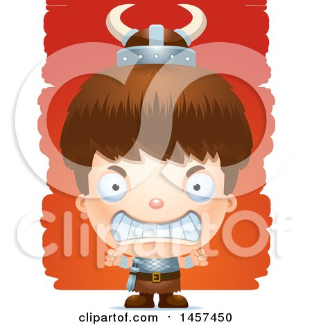 Clipart of a 3d Mad White Boy Viking over Strokes - Royalty Free Vector Illustration by Cory Thoman