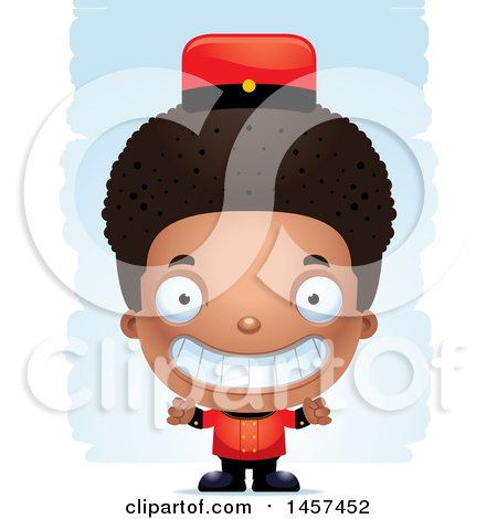 Clipart of a 3d Black Boy Bellhop over Strokes - Royalty Free Vector Illustration by Cory Thoman