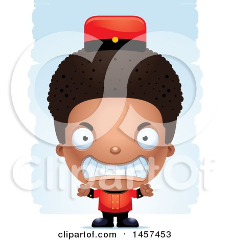 Clipart of a 3d Mad Black Boy Bellhop over Strokes - Royalty Free Vector Illustration by Cory Thoman