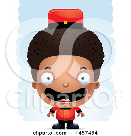 Clipart of a 3d Happy Black Boy Bellhop over Strokes - Royalty Free Vector Illustration by Cory Thoman