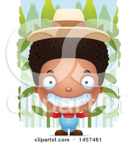 Clipart of a 3d Grinning Black Boy Farmer over a Crop - Royalty Free Vector Illustration by Cory Thoman