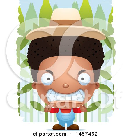 Clipart of a 3d Mad Black Boy Farmer over a Crop - Royalty Free Vector Illustration by Cory Thoman