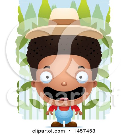 Clipart of a 3d Happy Black Boy Farmer over a Crop - Royalty Free Vector Illustration by Cory Thoman