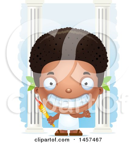 Clipart of a 3d Grinning Black Boy Holding an Olympic Torch over Columns - Royalty Free Vector Illustration by Cory Thoman