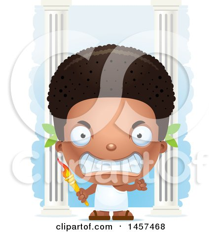 Clipart of a 3d Mad Black Boy Holding an Olympic Torch over Columns - Royalty Free Vector Illustration by Cory Thoman