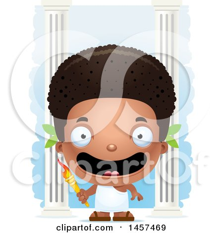 Clipart of a 3d Happy Black Boy Holding an Olympic Torch over Columns - Royalty Free Vector Illustration by Cory Thoman