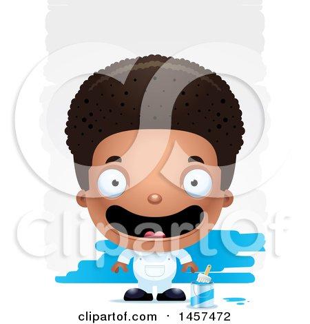3d Happy Black Boy Painter over Strokes Posters, Art Prints