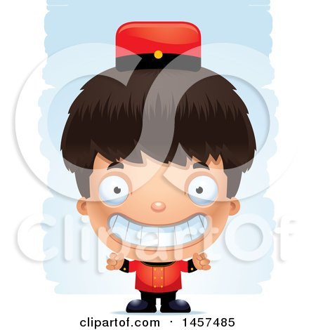 Clipart of a 3d Grinning Hispanic Boy Bellhop over Strokes - Royalty Free Vector Illustration by Cory Thoman