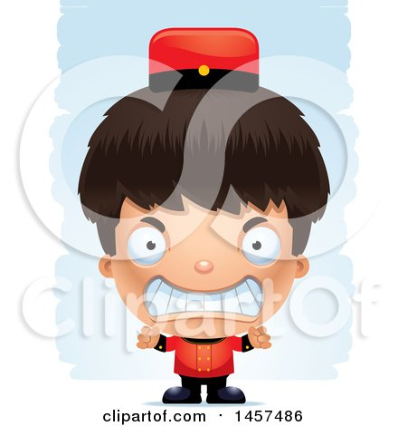 Clipart of a 3d Mad Hispanic Boy Bellhop over Strokes - Royalty Free Vector Illustration by Cory Thoman