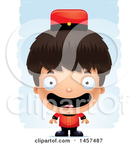 Clipart of a 3d Happy Hispanic Boy Bellhop over Strokes - Royalty Free Vector Illustration by Cory Thoman