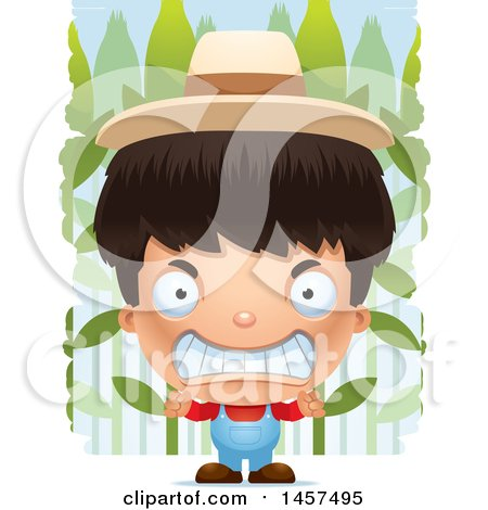 Clipart of a 3d Mad Hispanic Boy Farmer over a Crop - Royalty Free Vector Illustration by Cory Thoman