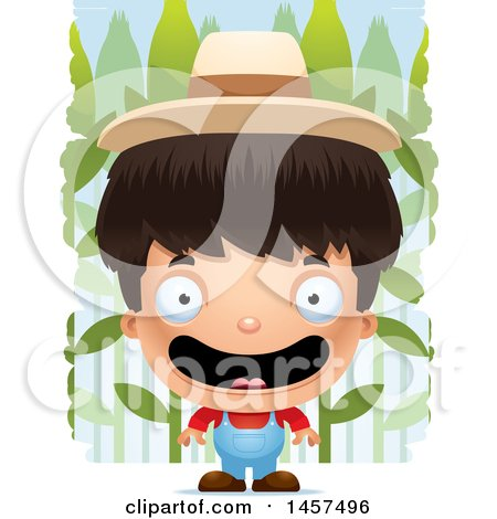 Clipart of a 3d Happy Hispanic Boy Farmer over a Crop - Royalty Free Vector Illustration by Cory Thoman