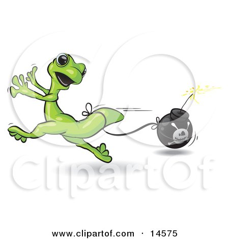 Terrified Green Gecko Running And Trying To Avoid A Bomb That Is Tied To His Tail Clipart Illustration by Leo Blanchette
