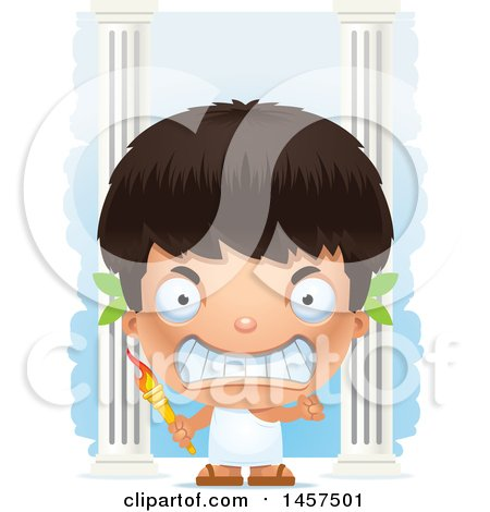 Clipart of a 3d Mad Hispanic Boy Holding a Torch over Colums - Royalty Free Vector Illustration by Cory Thoman