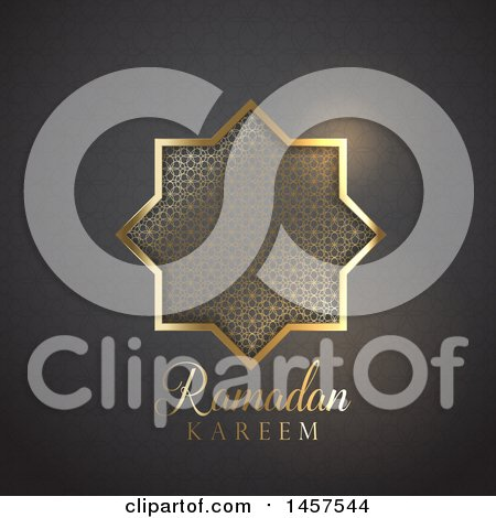 Clipart of a Gold Patterned Star with Ramadan Kareem Text over a Gradient Background - Royalty Free Vector Illustration by KJ Pargeter