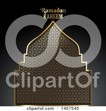Clipart of a Gold Patterned Silhouetted Mosque with Ramadan Kareem Text over a Gradient Black Background - Royalty Free Vector Illustration by KJ Pargeter