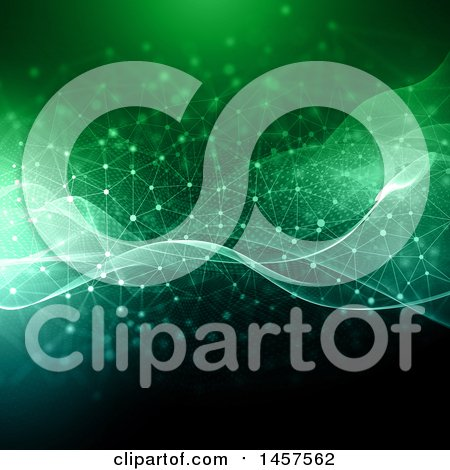 Clipart of a Background of Glowing Green Waves and Connections - Royalty Free Illustration by KJ Pargeter
