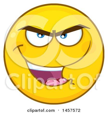 clipart of a cartoon evil emoji smiley face royalty free vector rh clipartof com