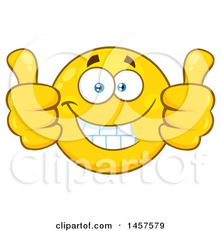clipart of a cartoon emoji smiley face giving two thumbs up rh clipartof com Black Woman Thumbs Up Thumbs Up Emoji