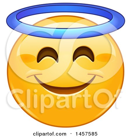 Clipart of a Yellow Emoji Smiley Face with an Angel Halo - Royalty Free Vector Illustration by yayayoyo