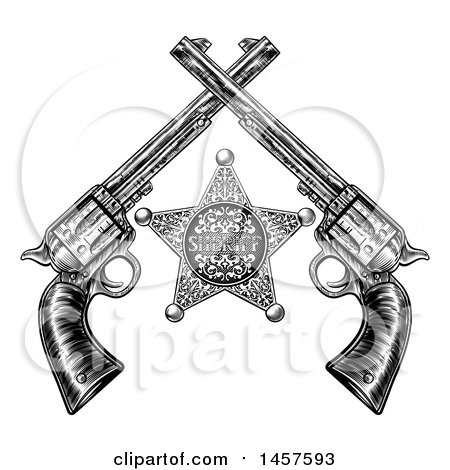 Clipart of a Black and White Woodcut Etched or Engraved Sheriff Star and Crossed Vintage Revolver Pistols - Royalty Free Vector Illustration by AtStockIllustration