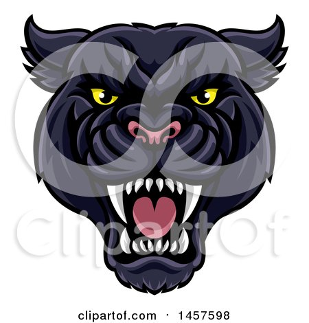 Clipart of a Vicious Roaring Black Panther Mascot Head - Royalty Free Vector Illustration by AtStockIllustration