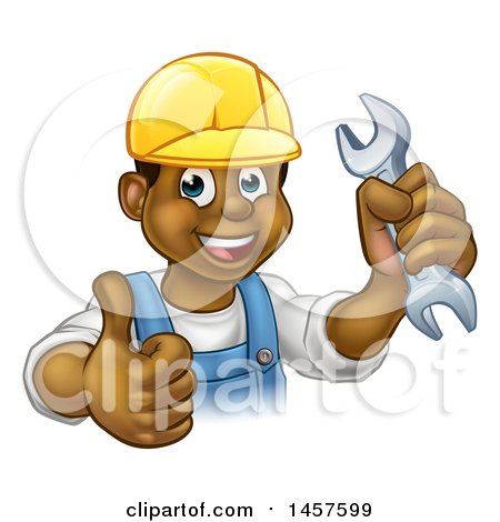 Cartoon Happy Black Male Mechanic Holding up a Wrench and Giving a Thumb up Posters, Art Prints