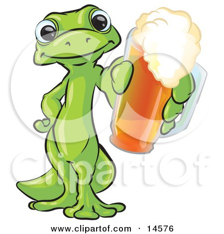 Green Gecko Standing On His Hind Legs, One Hand On His Hip, The Other Hand Holding Out A Golden Frothy Cup Of Beer Clipart Illustration by Leo Blanchette
