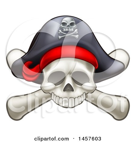 Clipart of a Skull and Crossbones Jolly Roger with a Pirate Hat - Royalty Free Vector Illustration by AtStockIllustration