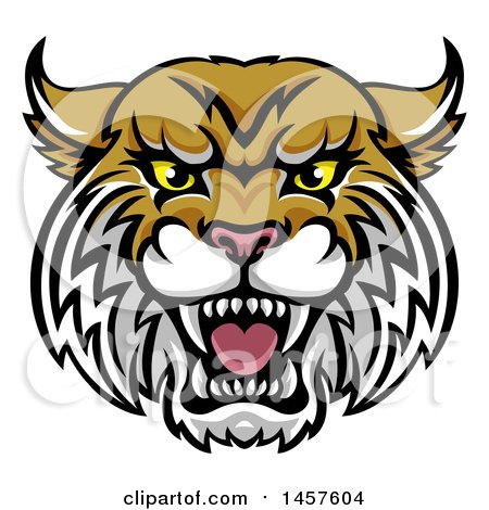 Clipart Of A Vicious Wildcat Mascot Head Royalty Free Vector